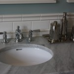 Close Up of Double Bathroom Vanity Sink Faucets by Gander Plumbing